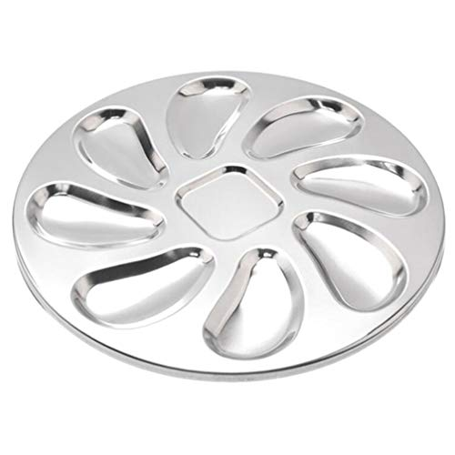 Cabilock Stainless Steel Oyster Plate for Oysters Sauce and Lemons Oyster Shell Shaped Oyster Dish for Home Restaurant