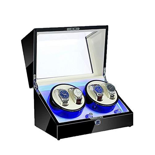 ZFF Cajas Giratorias for Relojes, 4 Relojes de Almacenamiento Caja de Pantalla led 5 Modos de Rotación 100% Hecho a Mano Mira Enrollador Automático (Color : C)