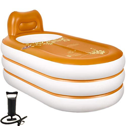 Folding Opblaasbare bad Adult Folding Bath Oranje Dikke driedimensionaal patroon Leather Folding Household Barrels Hot Tubs Insulation Verdickt Large Tub Bath Barrel