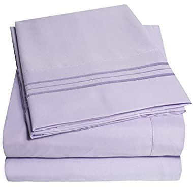 1500 Supreme Collection Bed Sheets Set - PREMIUM PEACH SKIN SOFT LUXURY 4 PIECE BED SHEET SET, SINCE 2012 - Deep Pocket Wrinkle Free Hypoallergenic Bedding - Over 40+ Colors - King, Lavender