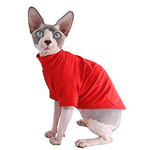 Sphynx Katzenkleidung, Winter, Dicke Baumwolle, doppelschichtig, Haustierkleidung, Pullover für Kätzchen, Shirts mit Ärmeln, ohne Haare, für Katzen und kleine Hunde, S (3.3-5 lbs), rot