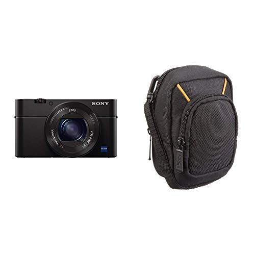 Sony DSC-RX100 IV Digitalkamera (21 Megapixel, 3-fach opt Zoom, 11-fach digital Zoom, 7,6 cm (3 Zoll) Display, Pop-Up-Sucher) schwarz & AmazonBasics Kameratasche für Kompaktkameras, groß