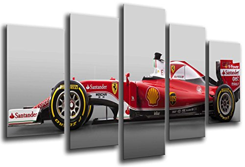 Cuadros Camara Fotográfico Coche Formula 1, Ferrari F1, Sebastian Vettel Tamaño total: 165 x 62 cm XXL, Multicolor