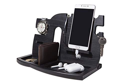 WoodPrint Wood Phone Docking Station - Desk Organizer - Key Holder - Wallet Stand - Watch Organizer - Nightstand Charging Stations for Multiple Devices - Best Birthday Gift for Men