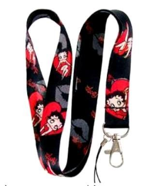 Betty Boop Red Heart and Kiss Lanyard Key Chain Holder