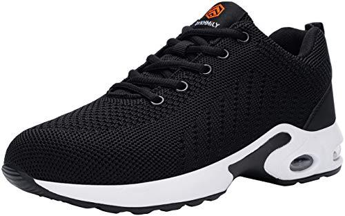 DYKHMILY Zapatos de Seguridad Mujer Ligeras Calzado de Seguridad Deportivo Zapatillas Seguridad Trabajo con Punta de Acero Colchón de Aire Transpirables Reflectante Cómodo (Blanco Negro,40 EU)