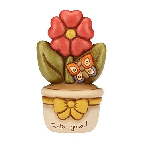 THUN - Vasetto Decorativo con Primula e Farfalla - Soprammobile - Bomboniere e Accessori per la Casa - Formato Medio - Ceramica - 9,6 x 8,7 x 16,7 cm