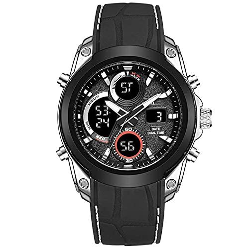 WNGJ Relojes, Relojes electrónicos multifuncionales Deportivos al Aire Libre, Relojes de Silicona Impermeables para Hombres, Correas Luminosas de Acero Inoxidable, reloje Black