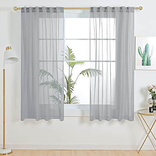 Deconovo Back Tab and Rod Pocket Grey Sheer Curtains 54 Inch Length Sheer Voile Drape Curtains for Dining Room 2 Panels 52W x 54L Inch
