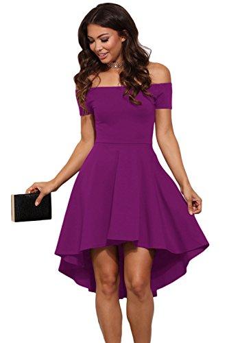 Vestido de ceremonia de mujer mini vestido vestido de dama elegante fiesta cuello barco violeta XL