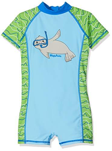 Playshoes Baby-Jungen UV-Schutz Einteiler Robbe Badehose, Blau (Blau/Grün 791), (Herstellergröße: 74/80)