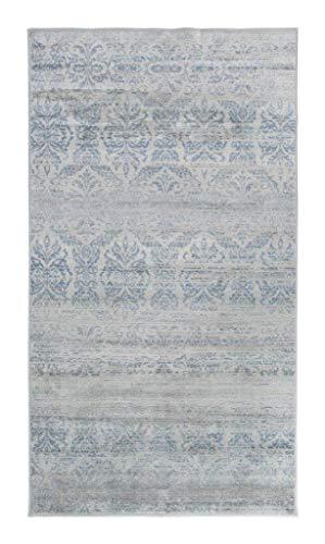 Luxor Living Vintageteppich Famos, Designerteppich, hochwertig, gewebt, pflegeleicht, Größe:80 x 150 cm, Farbe:Hellblau-Grau