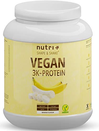 Protein Vegan Banane 1kg - 84,1% pflanzliches Eiweiß - Nutri-Plus Shape & Shake 3k-Proteinpulver - Veganes Eiweißpulver ohne Laktose & Milcheiweiß - Banana Flavour Powder 1000g