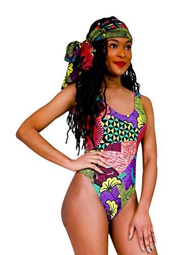 Fulani Women One Piece Swimsuit Set with Scarf African Print High Neck Backless Ankara Monokini Swimwear