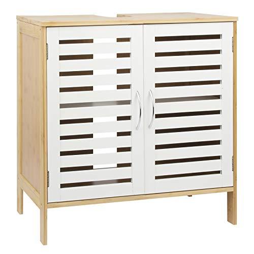 Waschbeckenunterschrank Linie Bambus Badezimmerschrank Badschrank Unterschrank, weiß braun, 60 x 60 x 30 cm