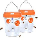 2 Pack Solar Wasp Trap Outdoor, Wasp Killer with Light Hanging, Reusable Insects Traps Bee Catcher for Outside, Hornets Killer Yellow Jackets Traps