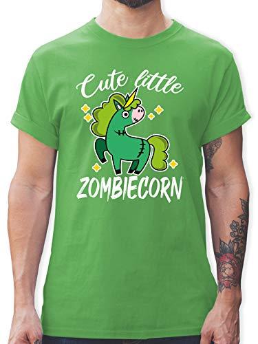 Halloween - Cute Little Zombiecorn - weiß - M - Grün - Zombies - L190 - Tshirt Herren und Männer T-Shirts