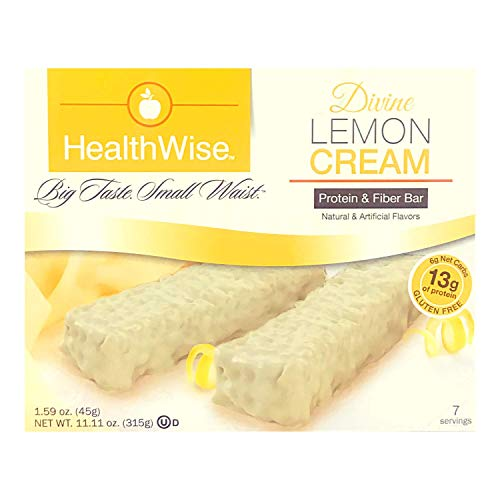 Healthwise - Divine Lemon Cream  Gluten Free Diet Snack Bars   Hunger Control and Appetite Suppressant High Protein, Low Fat, Chol Free, Low Net Carbs, High Fiber (7 Bars)