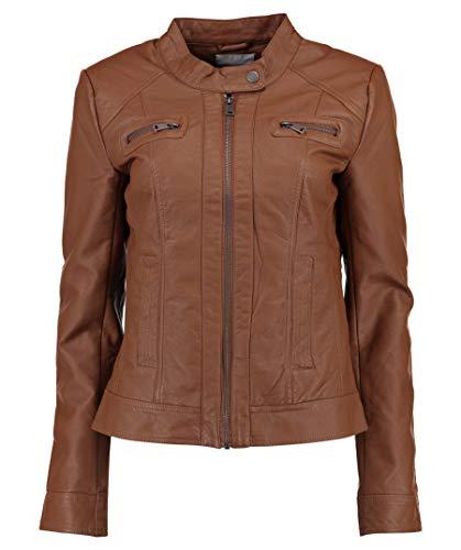 ONLY Damen Kunstlederjacke Bandit Stehkragen Biker-Style Cognac 36