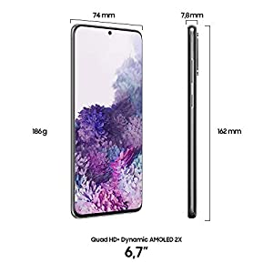 "Samsung Galaxy S20+ Smartphone, 4G, Display 6.7"" Dynamic AMOLED 2X, 4 Fotocamere Posteriori, 128 GB Espandibili, RAM 8 GB, Batteria 4500 mAh, Hybrid SIM/eSIM, [Versione Italiana], Cosmic Gray"