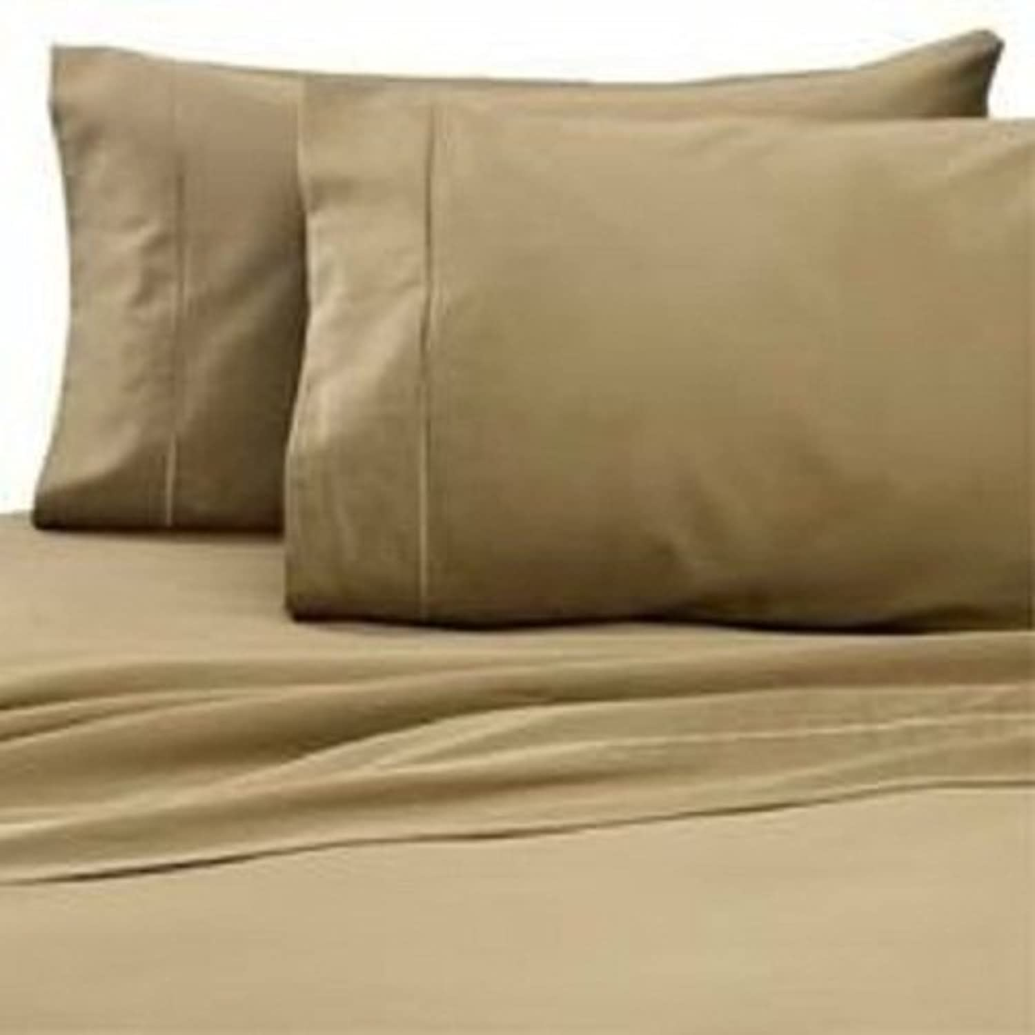 Linen Store Both Pattern Solid Stripe 1-Piece- Fitted- Sheet with 20-25 inches Extra Fit Deep Pocket Hotel Finish Adjustable Room 400 Thread Count 100% Pima Cotton (King, Solid, Taupe).