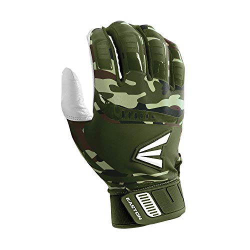 EASTON WALK-OFF Batting Gloves | Pair | Baseball Softball | Youth | Medium | Army Camo | 2020 | Premium Smooth Leather Palm | Lycra for Flexibility & Silicone for Structure & Look | Neoprene Closure