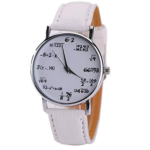 Reloj de pulsera para niños y niñas con ecuaciones matemáticas, placa de Dail, correa de piel, color blanco