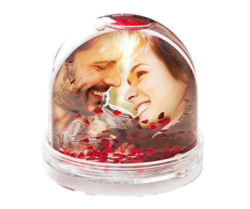ORWONet – Schneekugel mit Foto | Wunschbild einfach hochladen | Bilder austauschbar | Größe: 7,5 x 8,5 cm | rote Herzen | identisches Foto beidseitig | Druck Made in Germany | Foto-Schneekugel
