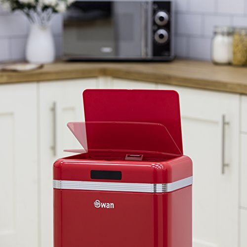 Swan Retro Kitchen Bin with Infrared Technology - Red, 45 Litre