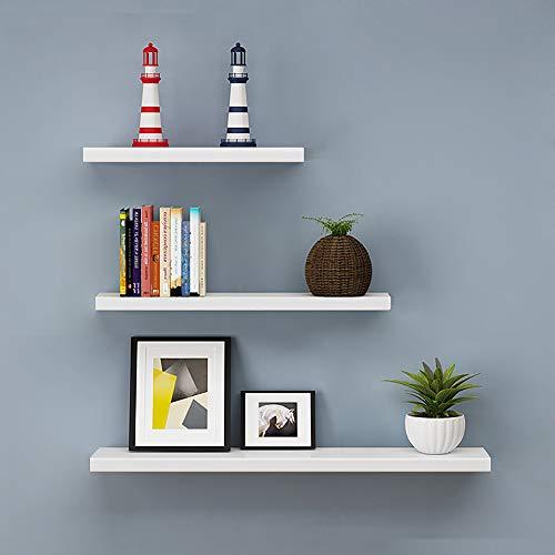 aimu - Mensole galleggianti da parete, in legno lucido, 3 pezzi, colore: Bianco