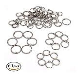 Binder Ringe,Xiuyer 3 Größen Metall Buch Ringbindung Loseblatt Verbinder Ringe für Handwerk Scrapbook Fotoalbum Schlüsselanhänger(60 Stück, 20mm 25mm 30mm)