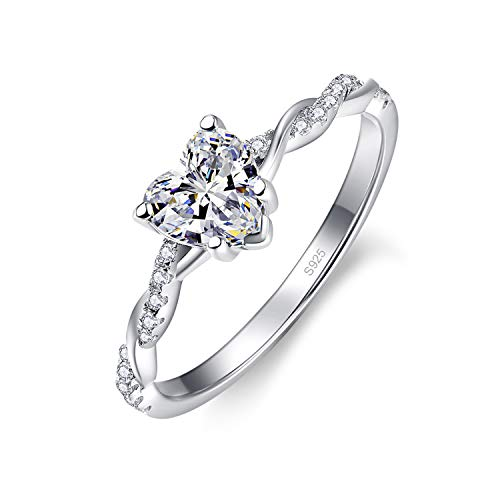 Bonlavie Solitaire Heart Cut Engagement Promise CZ Ring for Her 925 Sterling Silver Eternity Wedding Band Ring for Women L 1/2