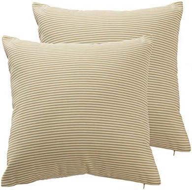 Shamrockers Farmhouse Geometric Throw Pillow Cover Decorative Cotton Linen Ticking Stripe Cushion product image