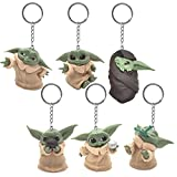 LIDBHR Llavero de star wars 6 PCS Llavero Yoda Star Wars The Mandalorian Llavero led Yoda llavero de unisex Perfecto como Regalo