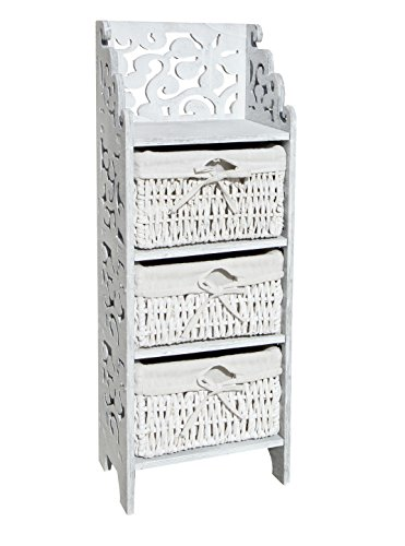 Rebecca Mobili Bedside Table Chest of Drawers 3 Drawers Wicker Pine White Gray Shabby Room Entrance - 78 x 28,5 x 22 cm (H x W x D) - Art. RE4296