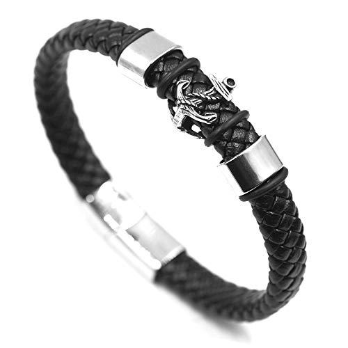 AWAKEN Viking - Pulsera de hombre clásica de piel con cierre magnético de acero inoxidable trenzado vintage, joyas para hombre ancla