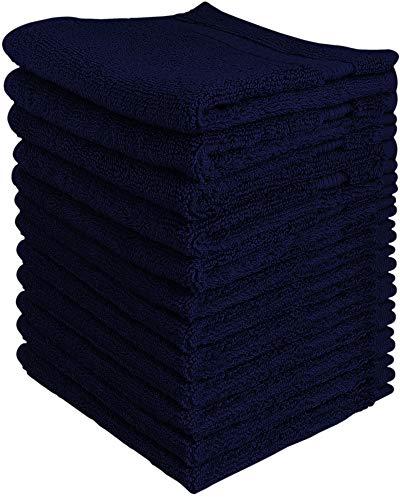 Utopia Towels - Juego de toallas de primera calidad (12 paquetes, 30 x 30 cm, azul marino) - Toallas de franela de 600 GSM 100% algodón, altamente absorbentes y de tacto suave (Azul Marino)