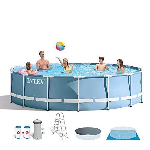 Intex 15ft x 48in Prism Frame Pool Set with Ladder, Cover, & Pump