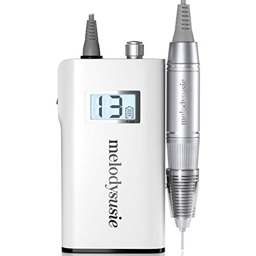 MelodySusie Professional Rechargeable 30000 rpm Nail Drill, Portable E-File with Long Life Battery, Electric Tool for Acrylic Nail Natural Extension Poly Nail Gel, High Speed, Low Heat