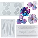 Musykrafties, set di stampi in silicone resina epossidica per gioielli fusione, geometria, piuma, petali di fiori