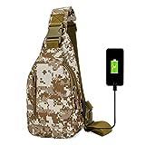 Tactical Bolso Hombre Bandolera Militar Bolso Pecho Mochila Cruzada De Hombre Impermeable Ligera Anti-Robo Sling Bag con Puerto De Carga USB,Desert Camouflage