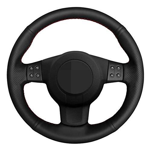SODMLZ Funda para Volante de Coche DIY Cuero Genuino Negro Cosido a Mano, para Seat Leon (Mk2) 2006-2008 Ibiza (6L) 2007