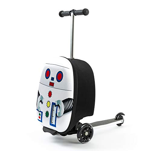 Kiddietotes Lightweight Carry-on Scooter Suitcase for Boys - LED Light Up Wheels for Kids - Robot