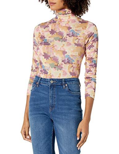 The Drop Women's Phoebe Long Sleeve Turtleneck Second Skin T-Shirt, Watercolor Print, M