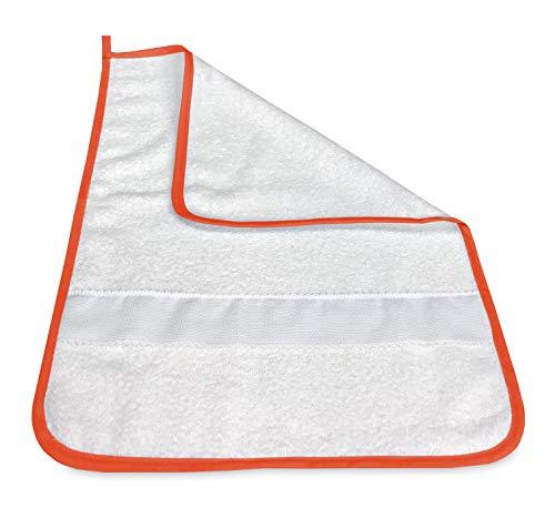 Toalla de mano Fred para guardería con borde liso con tela Aida para bordar el nombre – Naranja