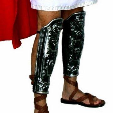 Coppia di gambali in plastica per soldato romano parastinchi color ferro
