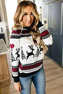 SDJYH, suéter de Navidad para Mujer, Otoño Invierno, suéter Acanalado de Punto, Jersey con Cuello Redondo, suéter cálido y...
