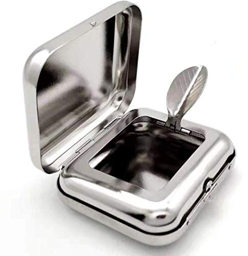 携帯灰皿 携帯式灰皿 灰皿 ステンレス 軽量 便利 コンパクト (シルバー)