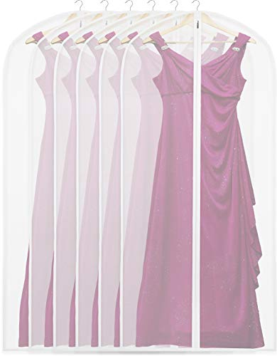 6 Pack - SimpleHouseware 60-Inch Translucent Garment Bags with Zipper for Suits, Dresses, Costumes, Uniforms