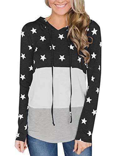 kenoce Sudadera con Capucha de Manga Larga para Mujer con cordón de Color Bloqueado suéter con Capucha con Estampado de Estrellas E-Negro XL